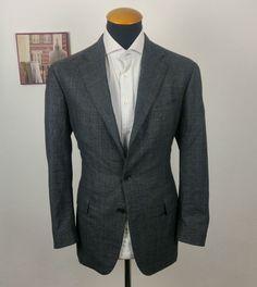 Boglioli Mens Blazer Size 42R Slim Plaid Sport Coat Wool Windowpane Grey Blue 52