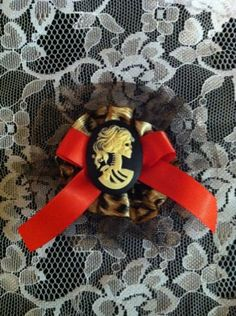 Hair Clip Accessory- Leopard Print And Red Bow Embellished by dropdeaddollface, $5.99