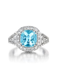 Penny Preville 18k White Gold Aquamarine Diamond Ring - Penny Preville 18k White Gold Aquamarine Diamond Ring