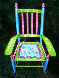 what a cool chair. By Alice Hinther Designs Art Cards. Painted Kids Chairs, Painted Rocking Chairs, Whimsical Painted Furniture, Hand Painted Furniture, Funky Furniture, Painted Stools, Kids Furniture, Classroom Furniture, Classroom Decor