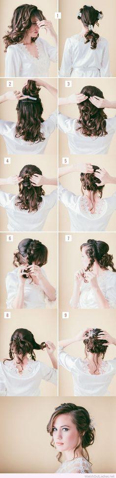 Bride loose braided updo tutorial