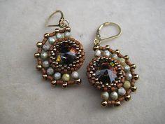 Half Moon Beaded Earrings Swarovski Rivoli by SleepingCatDesigns, $39.00