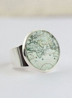 World Map Statement Ring
