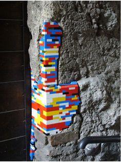 Crumbling brickwork patched up with Lego. Hmmmm Lego bombing, I'm thinking now. Lego Design, Game Design, Guerilla Knitting, Street Art, Lego Wall, Brickwork, Lego Brick, My New Room, Ideas