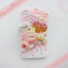Cabochon decoden smiley cloud face rainbow cookie heart pastel sweet phone case