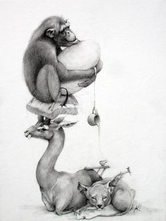 Adonna Khare > there's something so unique about the way she handles her illustrations in a sculptural way. there's always this play of balance and size.  there's a blurred line between whimsy and  bizarre.