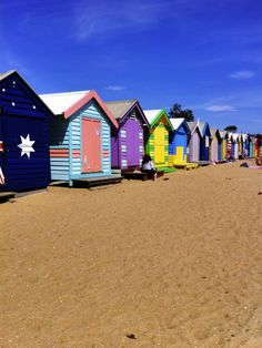 Melbournes Brighton beach, these colourful huts line the beach. Iv only visited this area in winter but it would be a sure gem in summer Brighton Beach Melbourne, Melbourne Australia, Australia Travel, Places To Travel, Places To See, Burning City, Victoria Australia, Best Cities, Beach Huts