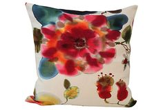 """Bergamo Rubelli     Fabric Pillow on OneKingsLane.com As described by House of Pemberley Custom pillow made with watercolor-inspired """"Cap d'Antibes"""" fabric by Bergamo Rubelli. Invisible zipper, solid off-white linen back, down insert."""