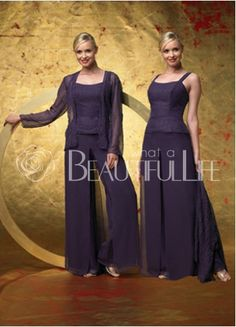 Elegant Chiffon & Lace Mother Of The Bride Pantdress - formal but exquisite mother of the bride / groom outfit. The Bride Pant dress features spaghetti straps, bud silk coat with long sleeve and long pants. 183.99 SKU:0009349
