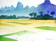 Abstract Landscape Painting, Watercolor Landscape, Landscape Paintings, Laos, Watercolor Sketch, Watercolor Paintings, Drawing Sketches, Drawings, Wave Art