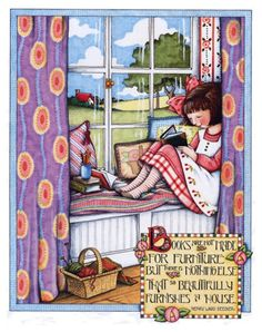 Reading in a window seat.