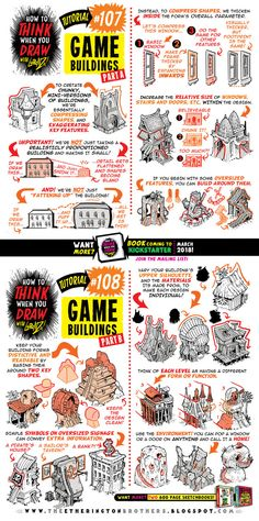 How to draw GAME BUILDINGS tutorial by STUDIOBLINKTWICE