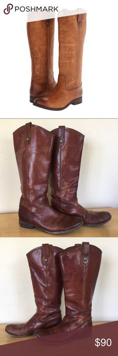 Authentic Frye Melissa button leather riding boots Size 9 beautiful frye boots! Used and re-soled but so much more life to give! A few rubbed off seam threads along the inside calf but holding up great! Some inconsistencies in the leather color (simply due to normal use) gives it a cool rocker look! Please let me know if you have any questions. I bundle and ship next day! 😍🎉🎁 original retail: $368 Frye Shoes