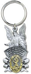 St Christopher With Guardian Angel Silver & Gold KeyChain