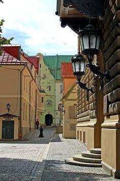 Klostera (Cloister) Street in Riga Old Town.