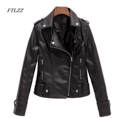 Pu Leather Jacket Women Spring New Slim Vintage Short Motorcycle Black Soft Coat -*- AliExpress Affiliate's buyable pin. Find similar products on www.aliexpress.com by clicking the VISIT button #Womensjackets