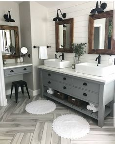 30 Perfect Farmhouse Bathroom Design Ideas And Remodel. If you are looking for Farmhouse Bathroom Design Ideas And Remodel, You come to the right place. Below are the Farmhouse Bathroom Design Ideas . Bad Inspiration, Bathroom Inspiration, Bathroom Inspo, Modern Bathroom, Dark Wood Bathroom, Shiplap Bathroom, Shower Bathroom, Bathroom Small, Bathroom Mirrors
