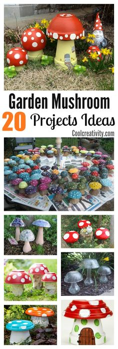 20 Garden Creative Mushroom Projects is part of Flower garden Art - These Garden Creative Mushroom Projects are fun and easy They will impress guests and make you smile every time you walk into your yard Outdoor Crafts, Outdoor Projects, Diy Garden Projects, Garden Crafts, Diy Garden Decor, Art Projects, Mushroom Decor, Garden Mushrooms, Clay Pot Crafts
