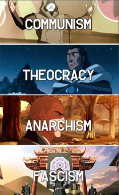 Each main Legend of Korra villain represents a different political ideology. Even the more minor villains like Varrick (who is not always necessarily a villain) and the Earth Queen represent ideologies as well: Capitalism and Absolute Monarchy, respectively