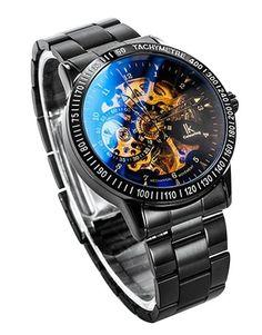 Central World IK98226 acero de tungsteno galvanizado para plateado mecánica de esqueleto autoadhesivas para-entorchado en para hombre reloj: Amazon.es: Relojes