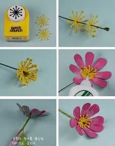 Claire's paper craft: Beautiful cosmos flower-recycling from egg cartonAnother Pinner Wrote: Claire's paper craft: tutorial.this is a great use for that snowflake punch I never use past January!Clever idea - use a snowflake punch for flower centre. Paper Flower Tutorial, Paper Flowers Diy, Flower Cards, Felt Flowers, Handmade Flowers, Diy Paper, Fabric Flowers, Paper Art, Paper Crafts