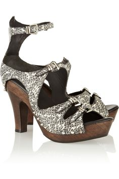 Snake-effect leather and wood sandals by McQ Alexander McQueen