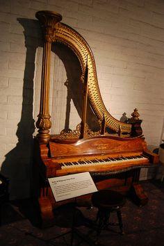 1857 Kuhn & Ridgeway Harp Piano