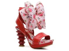 """Strawberry Shortcake called. She wants her """"work"""" shoes back. (Irregular Choice Fabric Footwear Sandal. Originally $154.) The worst part - also comes in blue and black."""
