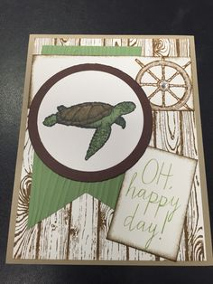 Card I made for a swap. All stampin up products. From land to sea stamp set