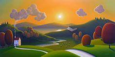 "Paul Corfield, Sun Setting Over The Peaks - 12"" x 24"""