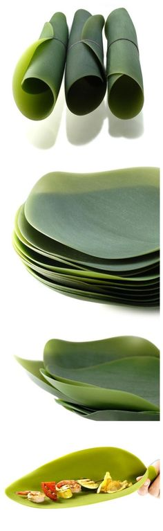 Silicone leaf plates: for picnics.