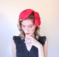 1950s Fascinator / VINTAGE / Hat / Bow / Red / by HighHatCouture
