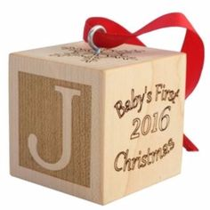 Baby's First Christmas Ornament Wooden Block – Palmetto Wood Shop