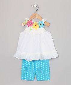 White & Turquoise Polka Dot Flower Tunic & Leggings - Infant