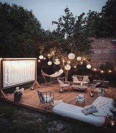 - Terrasse gemütlich wohnen Living comfortably in the terrace - garten Ikea Outdoor, Outdoor Spaces, Outdoor Living, Outdoor Decor, Outdoor Kitchens, Outdoor Movie Party, Outdoor Movie Nights, Outdoor Movie Screen, Backyard Movie Nights