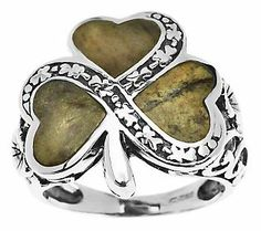 Sterling Silver Connemara Marble Shamrock Ring - QVC.  Cute idea for bridesmaids to wear (think bridesmaids gift!) at an Irish, Celtic, or St. Patrick's Day themed wedding.