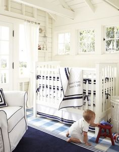 navy blue instead of the usual baby blue for baby boy room