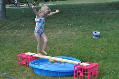 Greening Sam and Avery: walk the plank/water balance beam