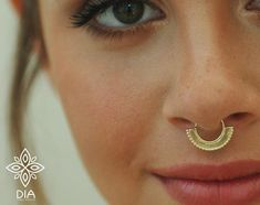 Tribal Septum Ring Solid Gold Septum Ring Gold Septum Septum Jewelry Gold Nose Ring Nose Ring Nose Hoop Body jewelry Gift to her by DIAinDIA Gold Diamond Earrings, Cluster Earrings, Gold Hoop Earrings, Stud Earrings, Septum Jewelry, Septum Ring, Jewlery, Gold Nose Rings, Nose Hoop