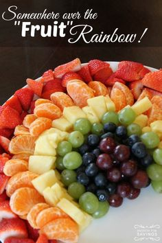 Fruit Rainbow Recipe! This is a FUN way to celebrate St. Patrick's Day or a Rainbow Themed Party!
