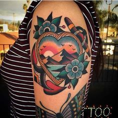 heart landscape otradtitional tattoo on shoulder