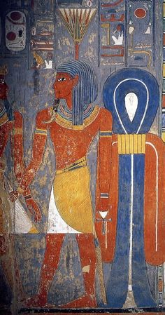 The God Nefertum depicted in the Dynasty 18 tomb of the Pharaoh Horemheb. The son of Ptah and Sekhmet, he is the god of Fragrance and perfumes, as such, he is depicted with a lotus blossom on his head.