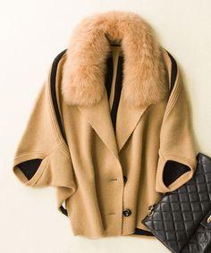 Beautiful Elegant Fox Fur Cashmere Knitted Shawl Poncho Jacket M-XL 3 Colors