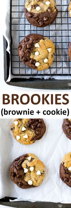 Thick and Soft Brookies. A brownie and chocolate chip cookie all in one. | chefsavvy.com #recipe #cookie #dessert #brownie #chocolate