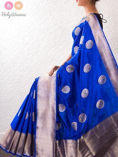 #Blue #Kadhuan #Buta #Brocade #Silk #Saree #HolyWeaves