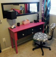 Love this DIY make-up area. Put a door mirror to the side & hang above a desk from a yard sale.