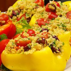 Chickpea and Quinoa Salad Recipe in Bell Pepper Boats - Food Matters - Mother Earth Living