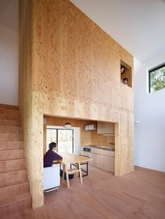 """Belly House by Tomohiro Hata Architect and Associates """"Location: Kyoto, Kyoto Prefecture, Japan"""" 2010 Modern Japanese Architecture, Interior Architecture, Interior And Exterior, Decoration Design, Deco Design, Tiny Spaces, Small Apartments, Small Japanese House, Plywood House"""