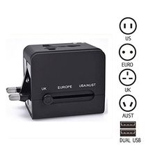 All-in-one Universal International Travel Adapter Wall Charger with Dual USB Port for iPhone iPad Android Phone Camera Tablet