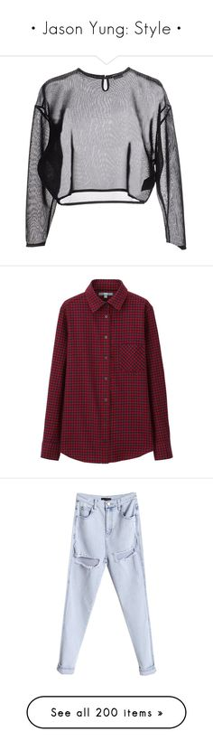 """""""• Jason Yung: Style •"""" by foreverfrost ❤ liked on Polyvore featuring tops, sweaters, shirts, crop tops, yves saint laurent, shirt crop top, cropped shirts, yves saint laurent shirt, cut-out crop tops and red checkered shirt"""
